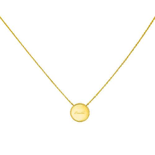 Photo de Collier médaille perlée - plaqué or