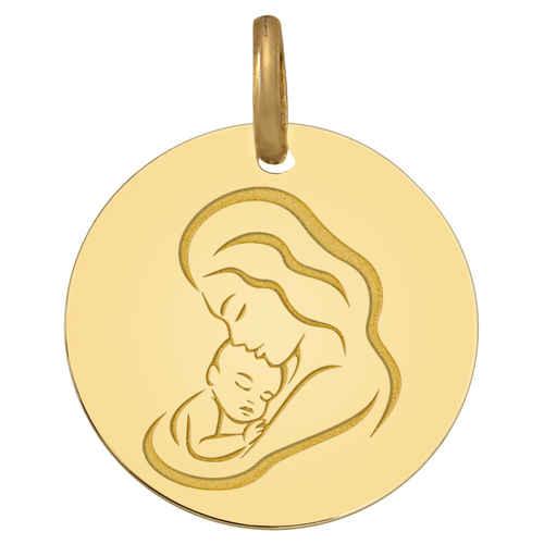 Photo de Médaille Vierge amour maternel - Or jaune 9ct