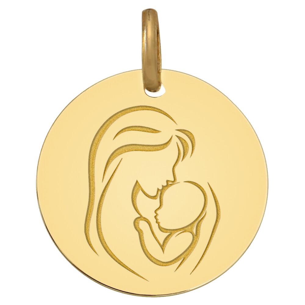 Photo de Médaille Vierge à l'enfant - le baiser - Or jaune 18ct