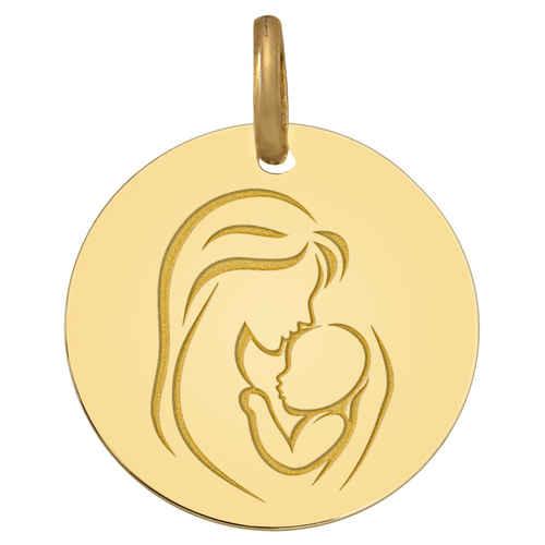 Photo de Médaille Vierge à l'enfant - le baiser - Or jaune 9ct