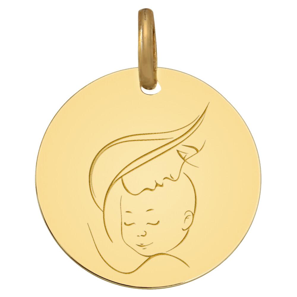 Photo de Médaille Vierge à l'enfant maternité - Or jaune 9ct