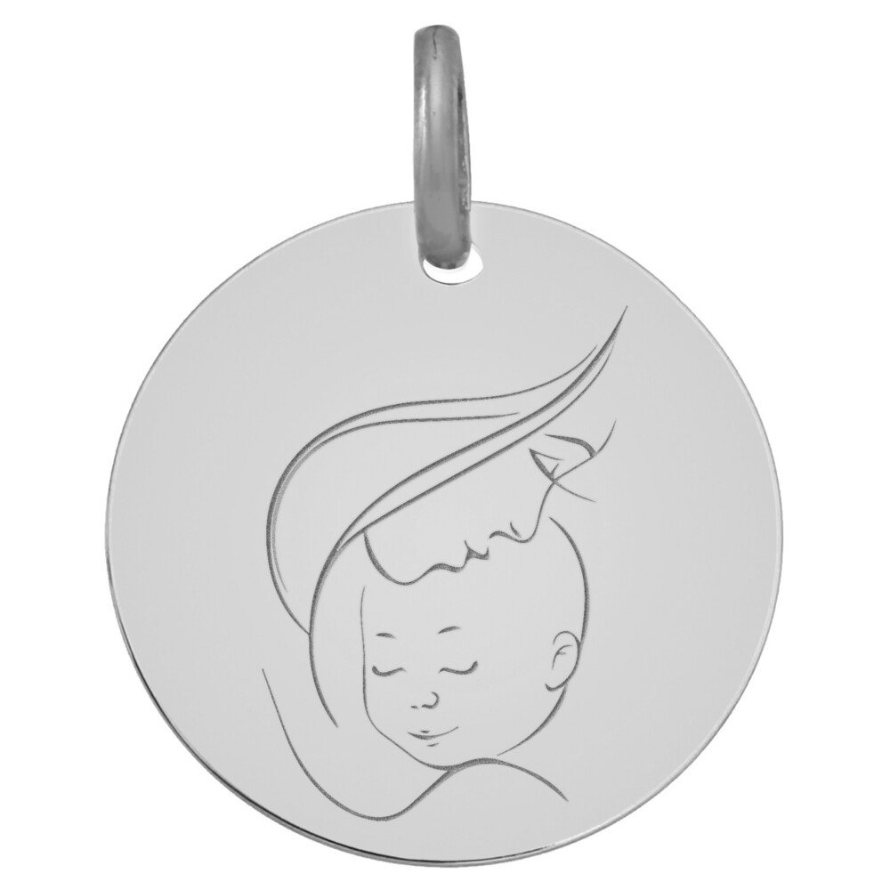Photo de Médaille Vierge à l'enfant maternité - Or blanc 9ct
