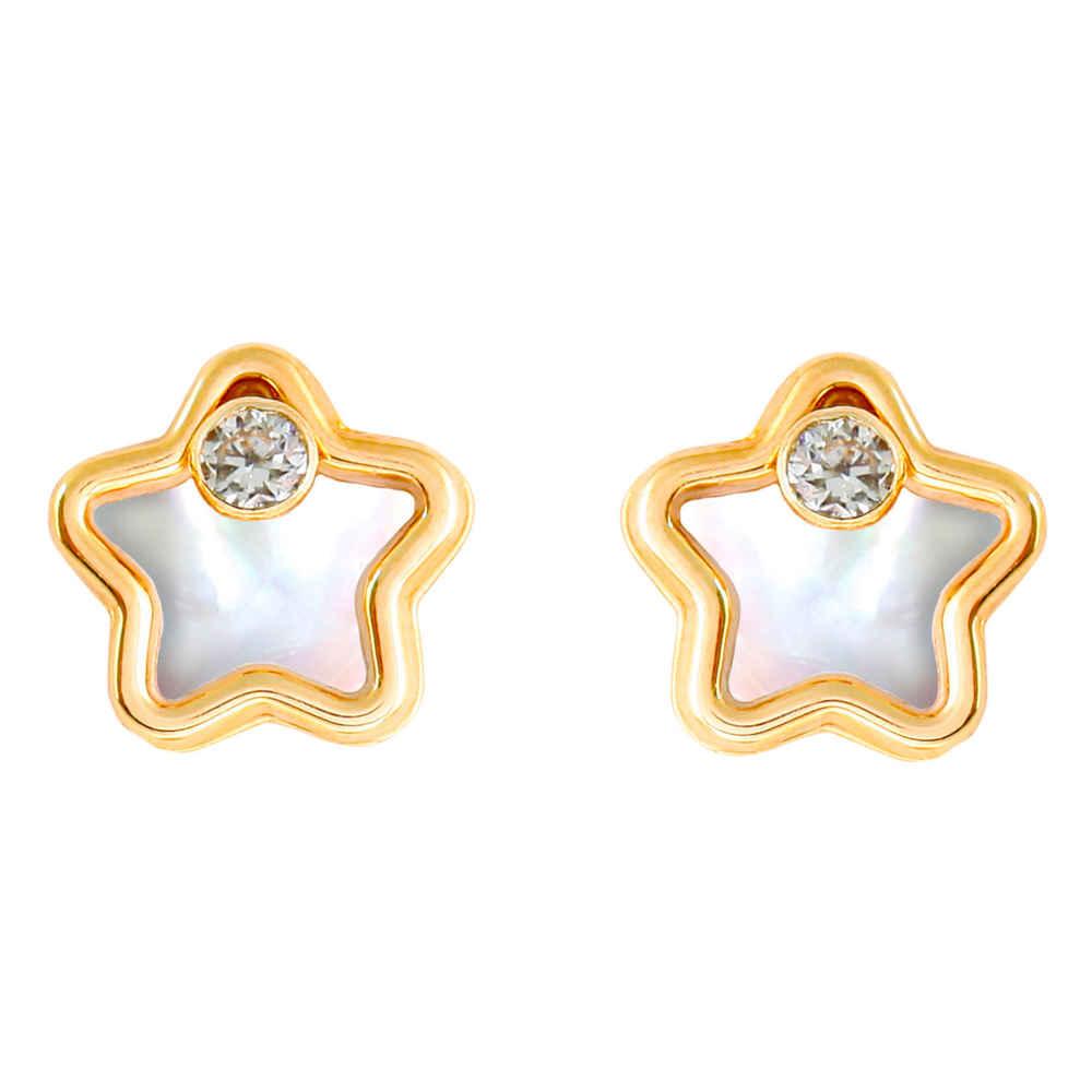 Photo de Boucles d'oreilles étoiles - Or jaune 9ct & nacre