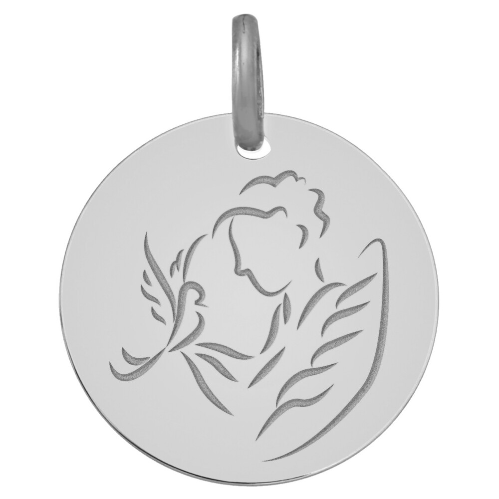 Photo de Médaille Ange à la Colombe - Or blanc 18ct