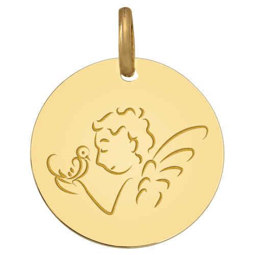 Photo de Médaille Ange à la Colombe - Or jaune 18ct