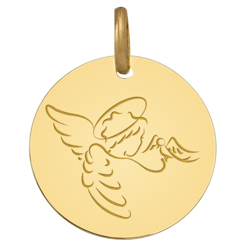 Photo de Médaille Ange à la Colombe - Or jaune 9ct
