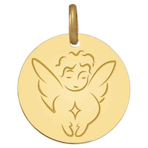 Photo de Médaille Ange étoile - Or jaune 9ct