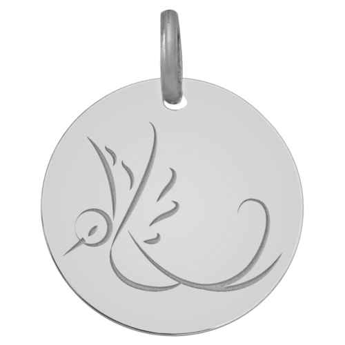 Photo de Médaille Colombe en vol - Or blanc 9ct