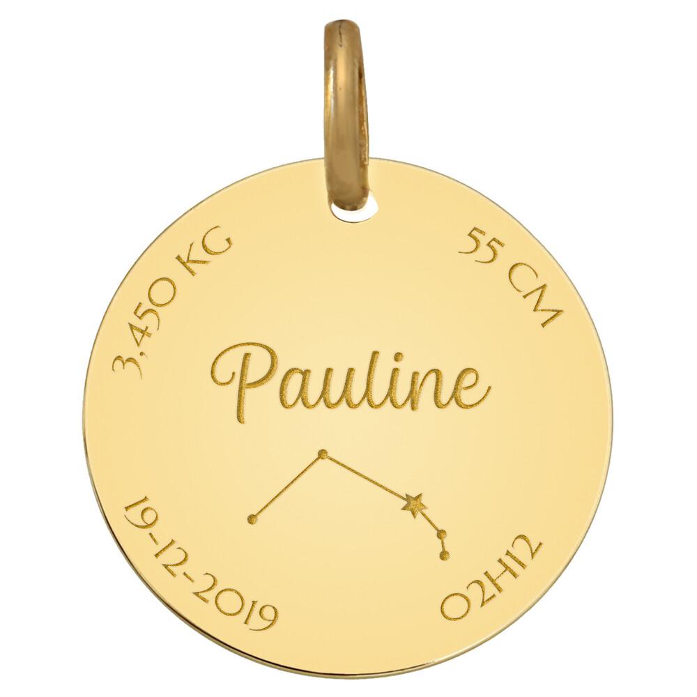 Photo de Médaille de naissance constellation - Or jaune 9ct