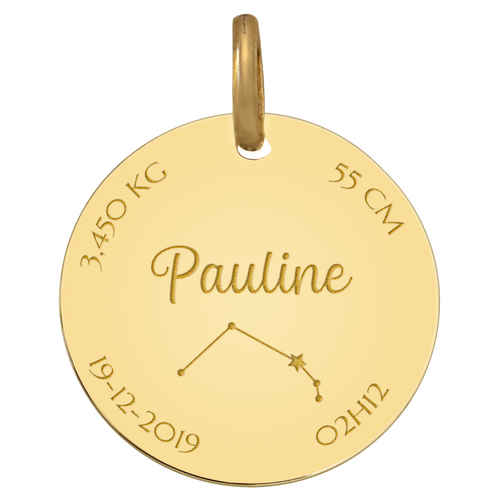 Photo de Médaille de naissance constellation - Or jaune 18ct