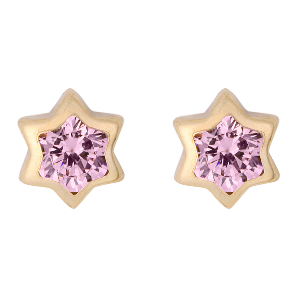 Photo de Boucles d'oreilles étoiles - Vis - Or jaune 9ct