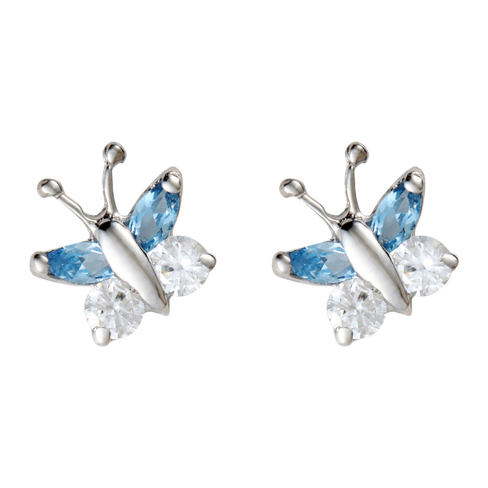 Photo de Boucles d'oreilles papillons - Vis - Or blanc 9ct