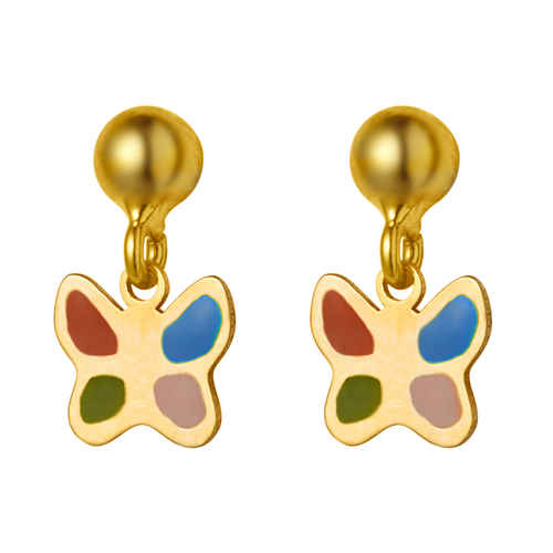 Photo de Boucles d'oreilles papillons- Vis - Or jaune 9ct