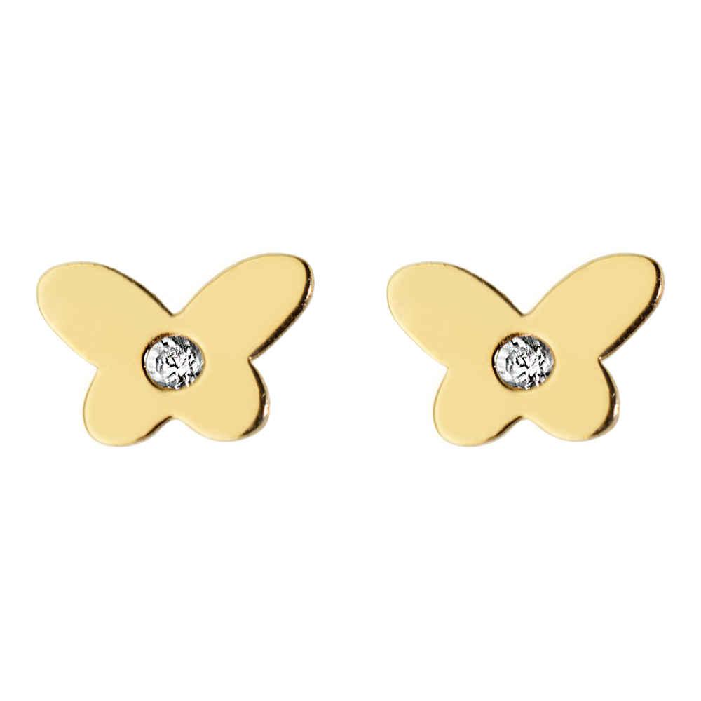 Photo de Boucles d'oreilles papillons - Puces - Or jaune 9ct