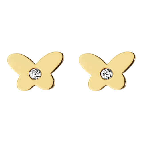 Photo de Boucles d'oreilles papillons - Puces - Or jaune 9ct