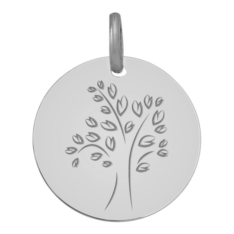 Photo de Médaille Arbre de vie moderne - Or blanc 18ct