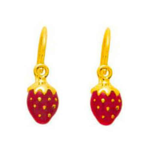 Photo de Boucles d'oreilles fraises - Dormeuses - Or jaune 9ct