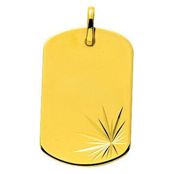 Photo de Pendentif plaque tonneau étoilée - Or jaune 18ct