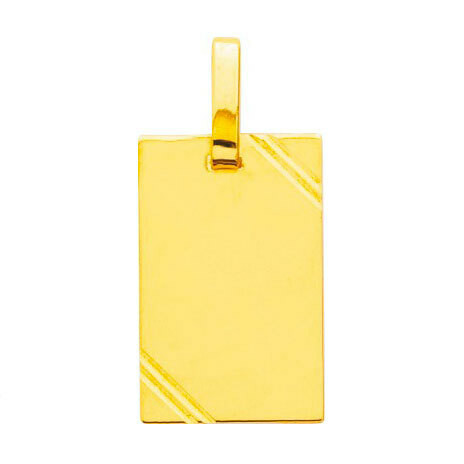 Photo de Pendentif plaque striée - Or jaune 18ct