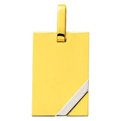 Photo de Pendentif plaque barrette - Or jaune et or blanc 18ct