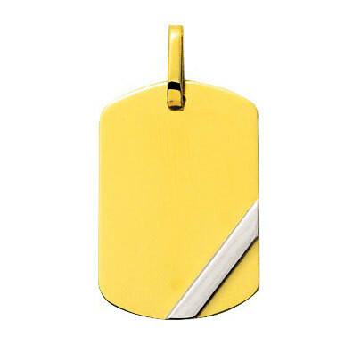 Photo de Pendentif tonneau plaque barrette - Or jaune 18ct