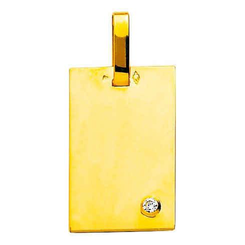 Photo de Pendentif plaque - diamant & or jaune et or blanc 18ct