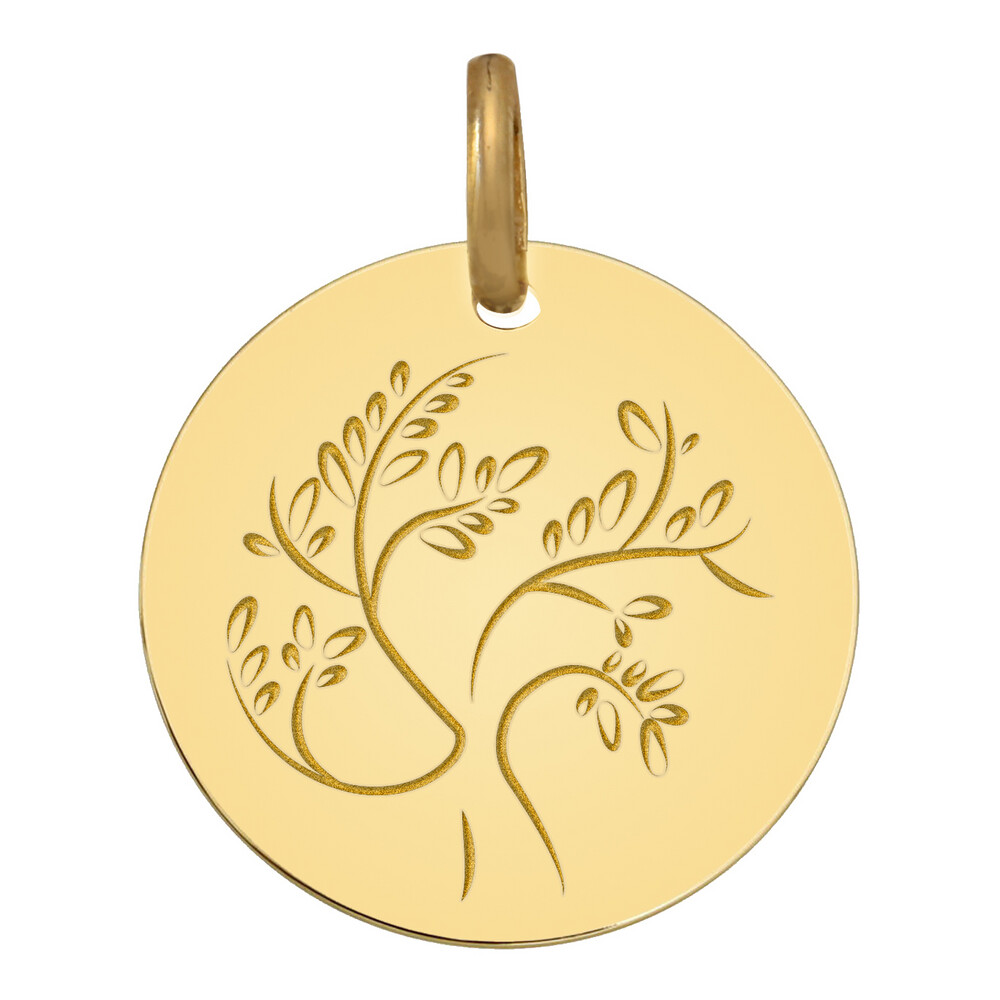 Photo de Médaille Arbre de vie stylisé - Or jaune 18ct