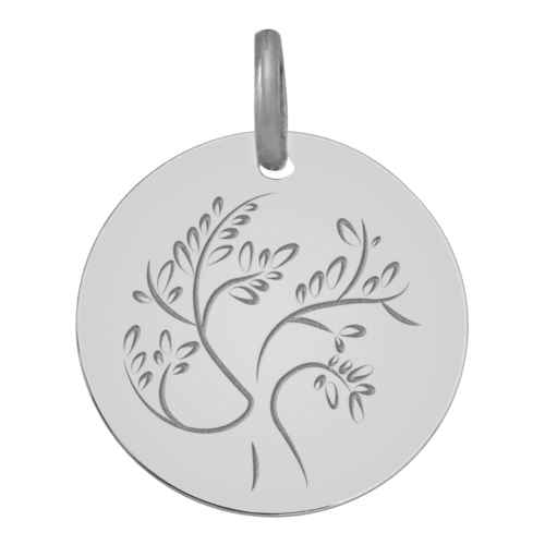 Photo de Médaille Arbre de vie stylisé - Or blanc 18ct