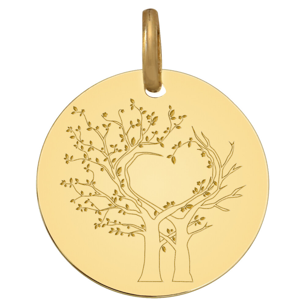 Photo de Médaille Arbres de vie au coeur - Or jaune 9ct