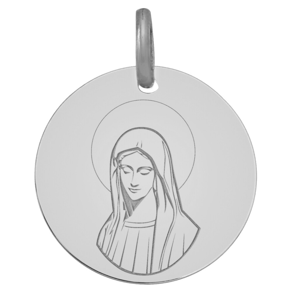 Photo de Médaille Vierge pensive - Or blanc 9ct
