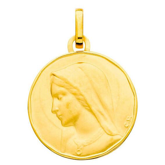 Photo de Médaille Vierge de profil - Or jaune 9ct