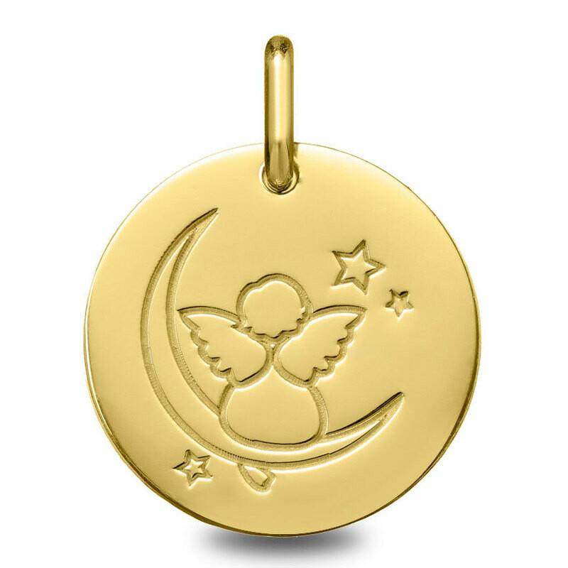 Photo de Médaille Ange sur la lune - Or jaune 18ct