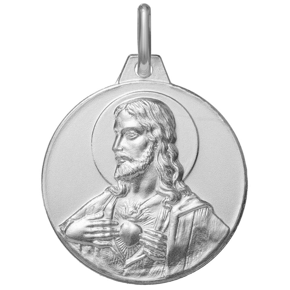 Photo de Médaille Christ Sacré Coeur - Argent massif