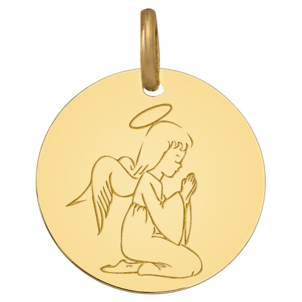 Photo de Médaille Ange à genoux - Or jaune 18ct