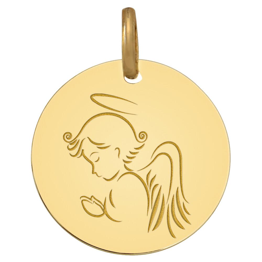 Photo de Médaille Ange priant - Or jaune 18ct