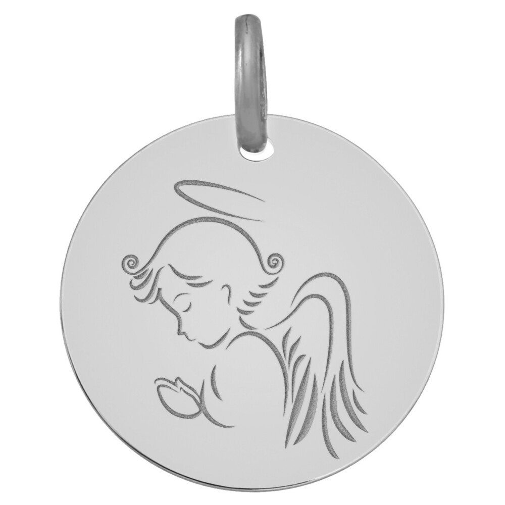 Photo de Médaille Ange priant - Or blanc 9ct