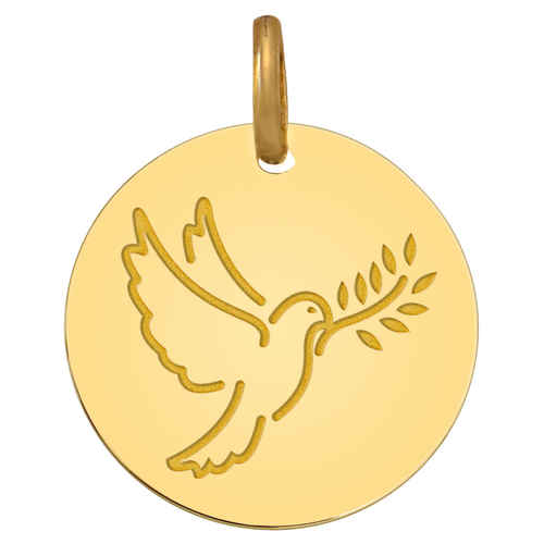 Photo de Médaille Colombe au rameau - Or jaune 18ct