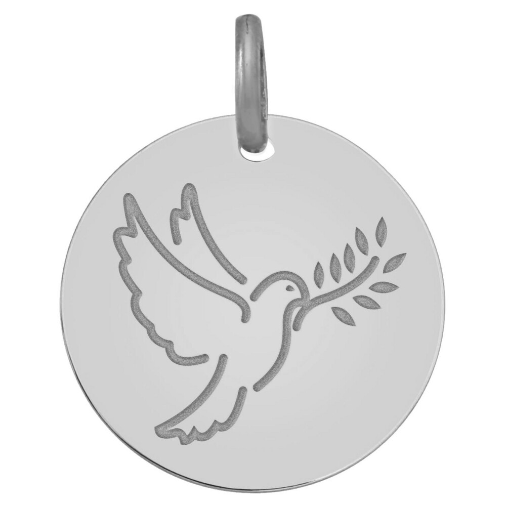 Photo de Médaille de la Colombe au rameau - Or blanc 9ct