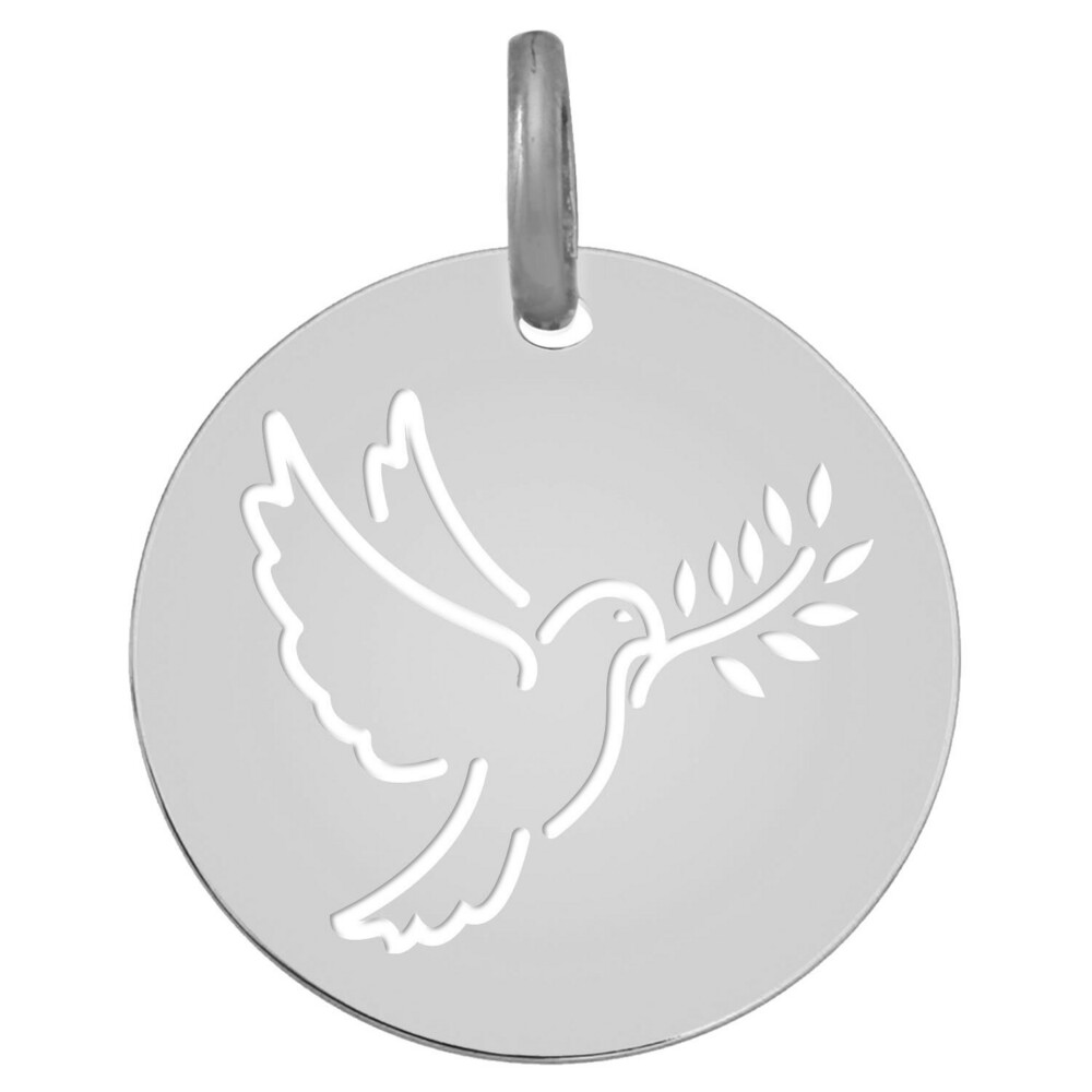 Photo de Médaille de la Colombe au rameau ajourée - Or blanc 18ct