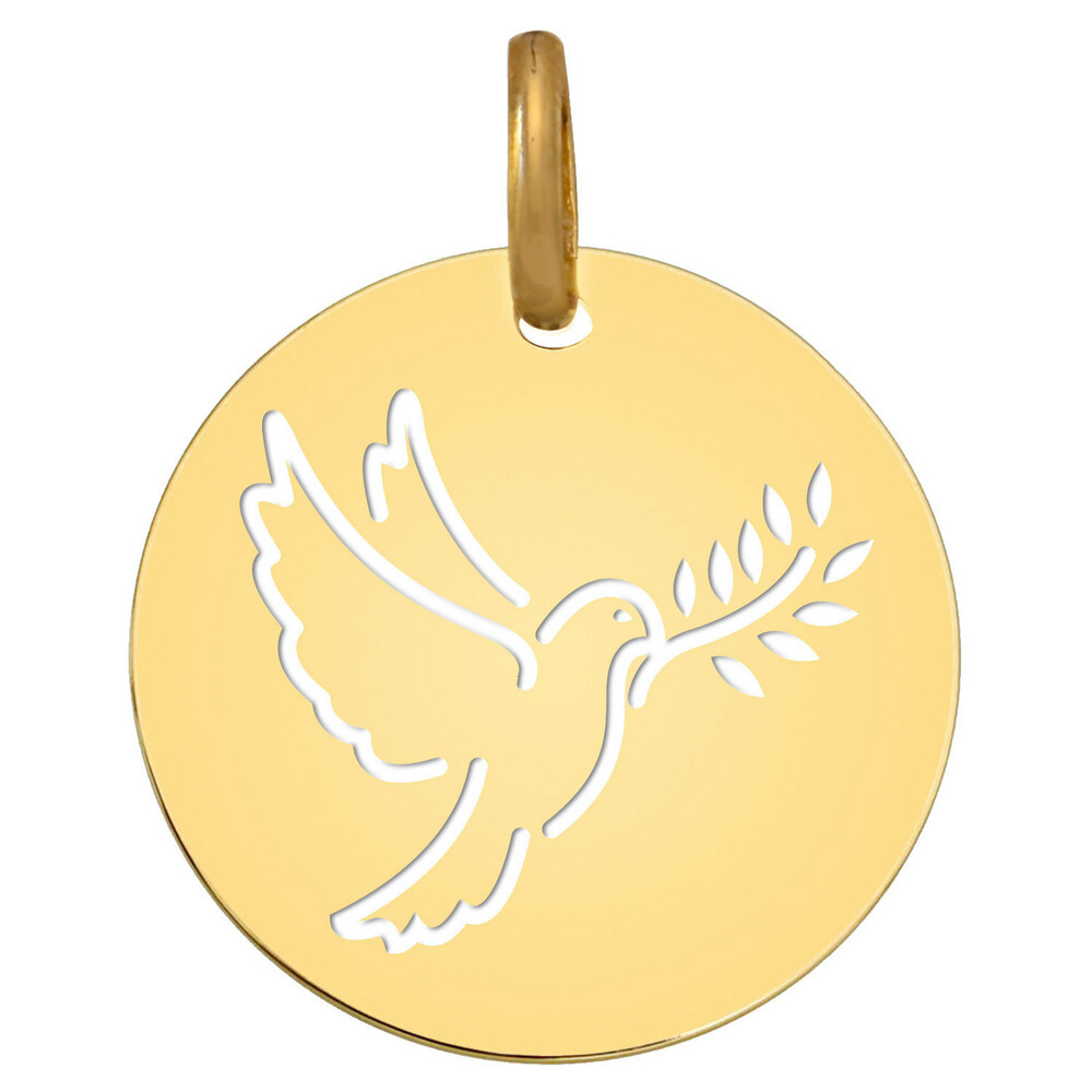 Photo de Médaille Colombe au rameau ajourée - Or jaune 9ct