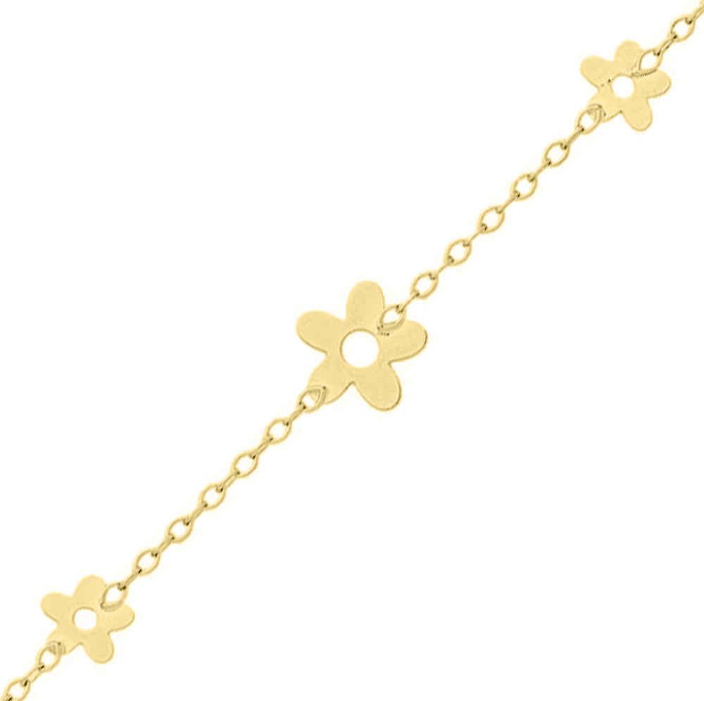 Photo de Bracelet enfant Fleurs - Or jaune 18ct