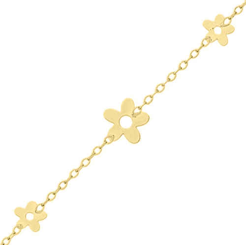 Photo de Bracelet enfant Fleurs - Or jaune 18ct