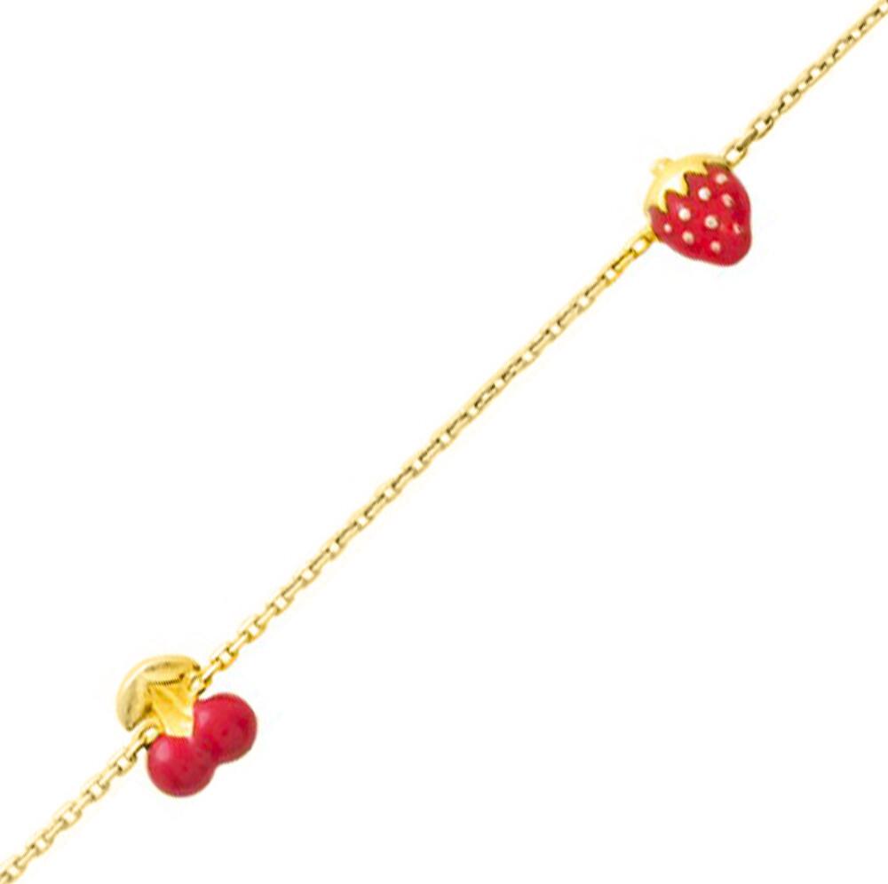 Photo de Bracelet enfant fraise cerise - Or jaune 18ct