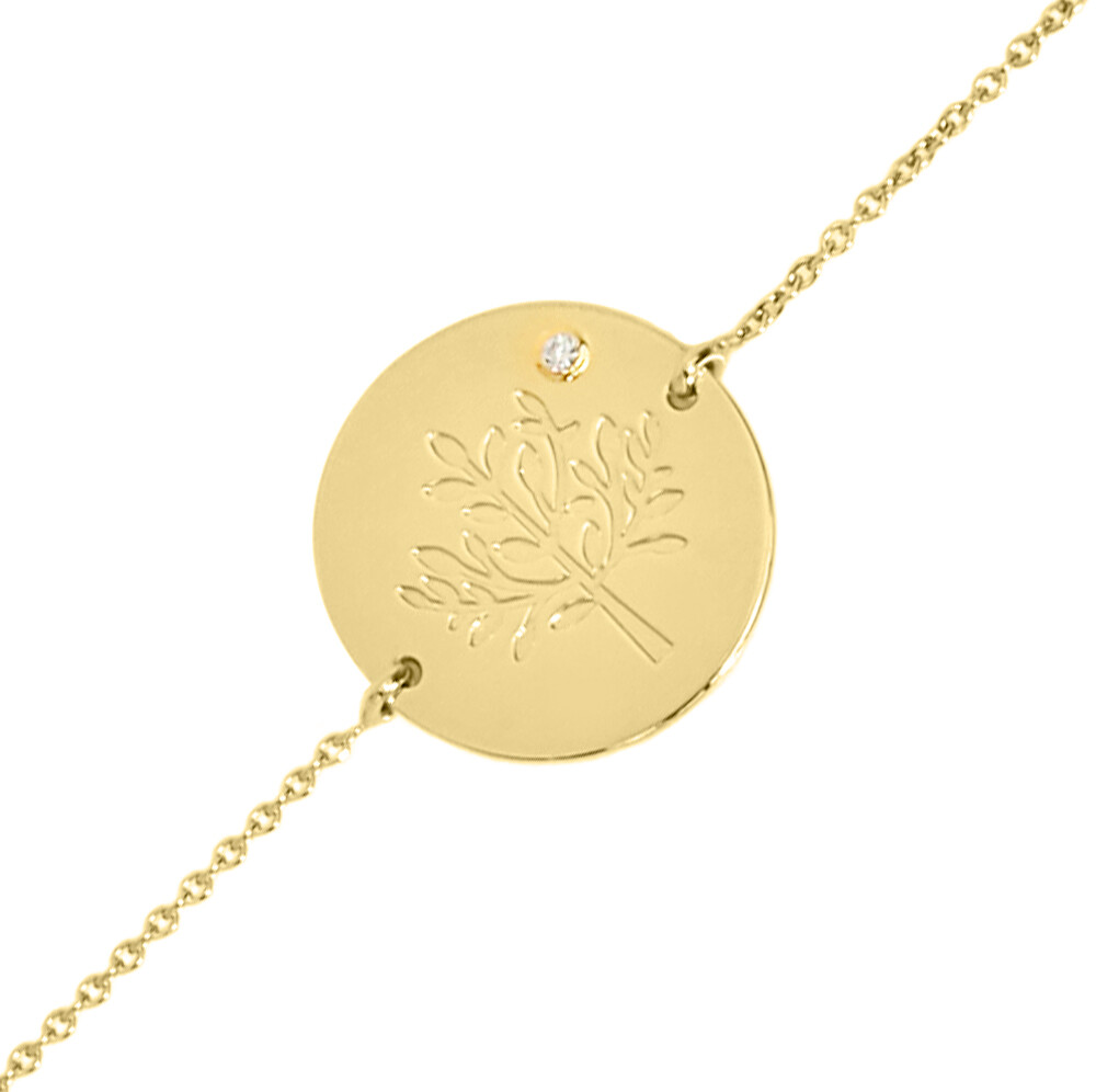 Photo de Gourmette arbre de vie LuluCastagnette - diamant & or jaune 9ct