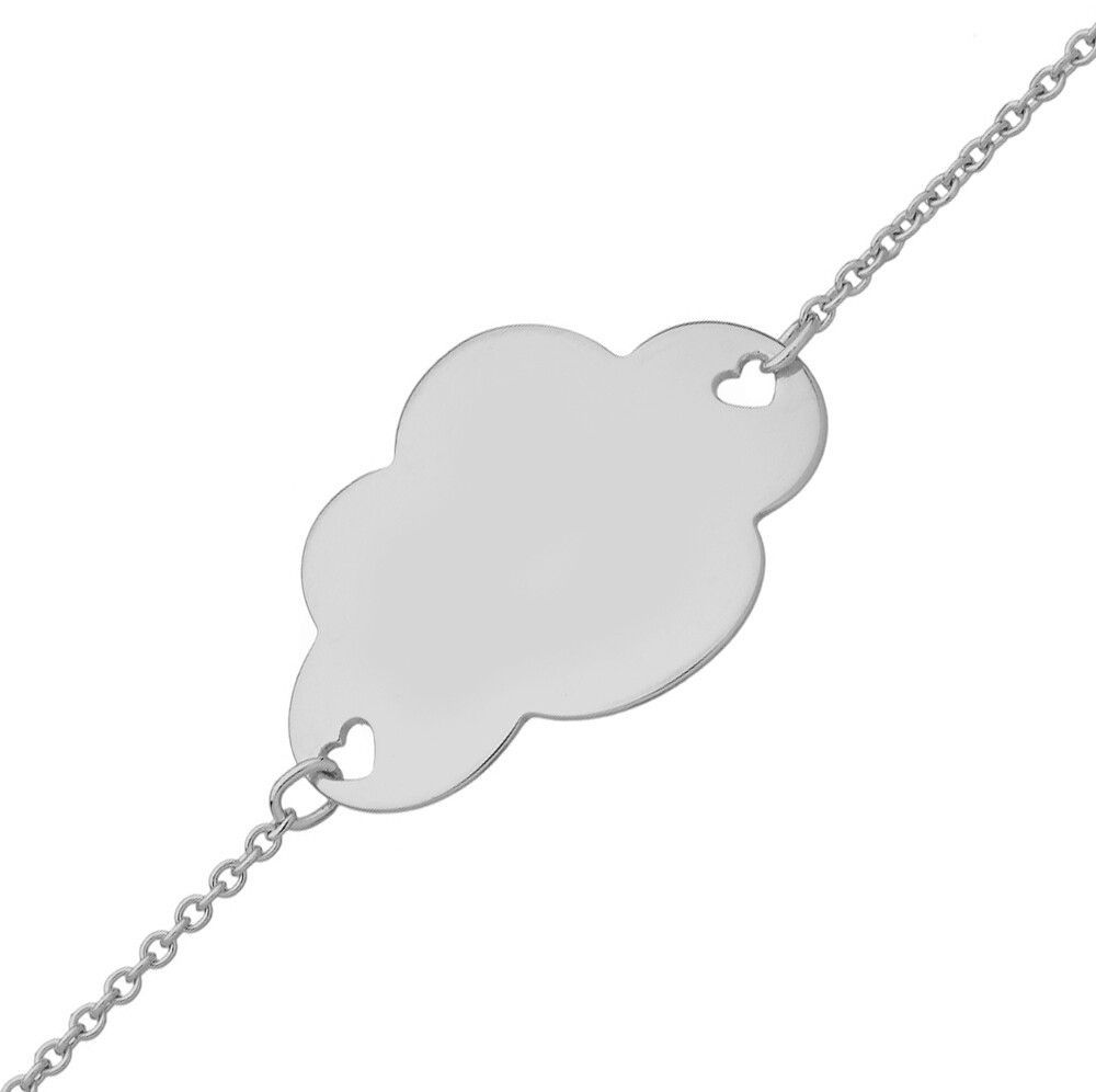 Photo de Gourmette bébé nuage - Or blanc 9ct