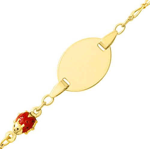 Photo de Gourmette bébé coccinelle - Or jaune 18ct