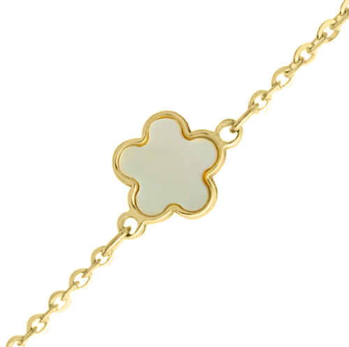Photo de Bracelet fleur - Or jaune 9ct & nacre