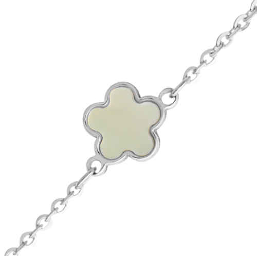 Photo de Bracelet bébé fleur - Or blanc 9ct & nacre