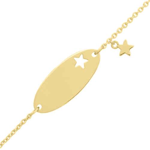 Photo de Gourmette bébé étoile - Or jaune 18ct