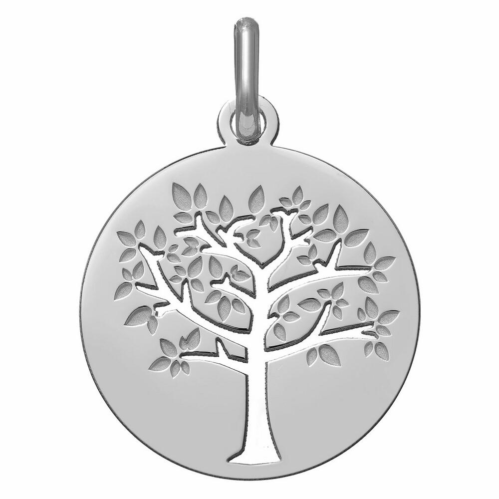 Photo de Médaille Arbre de vie printanier ajourée - Or blanc 9ct